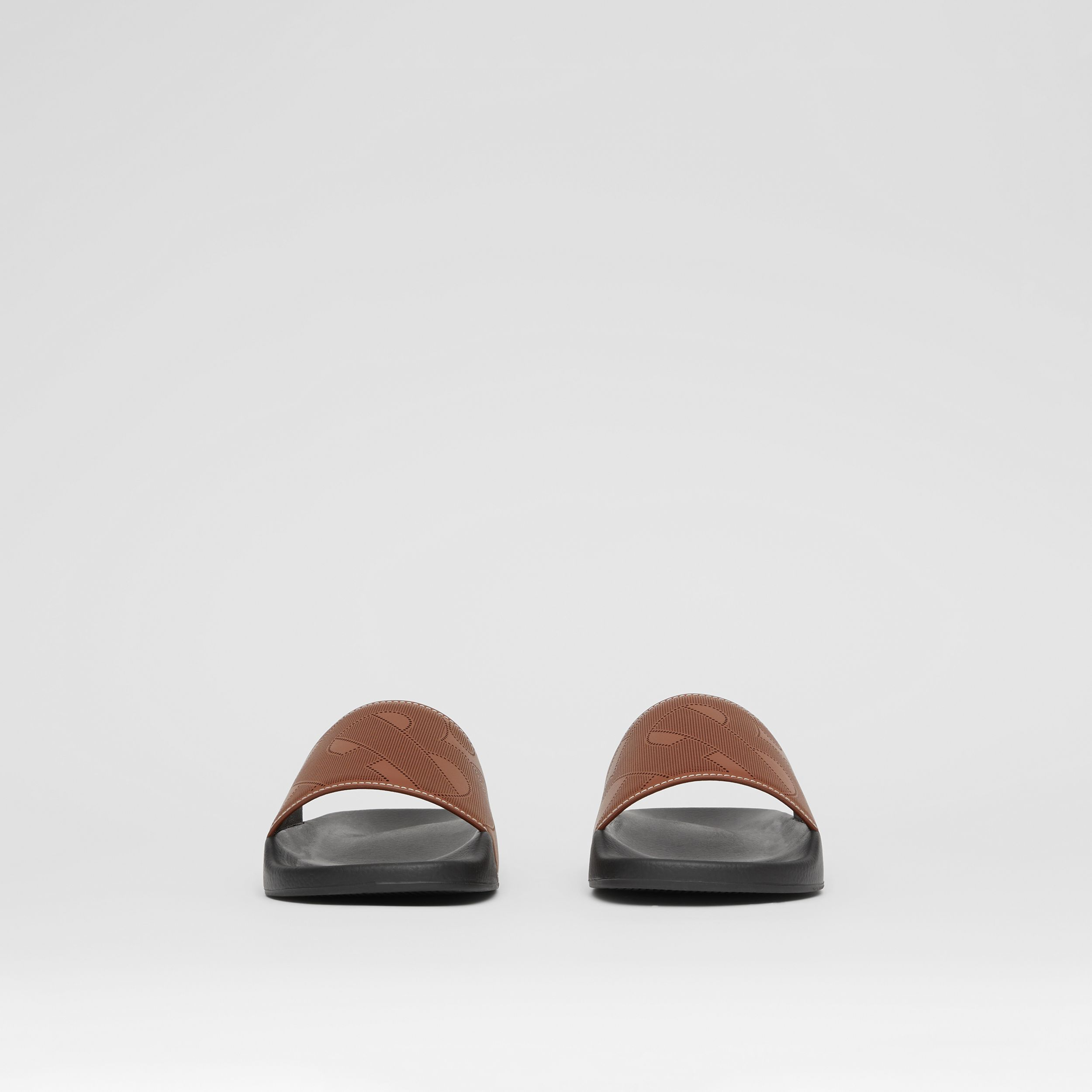 Perforated Monogram Leather Slides in Tan - Men | Burberry - 3