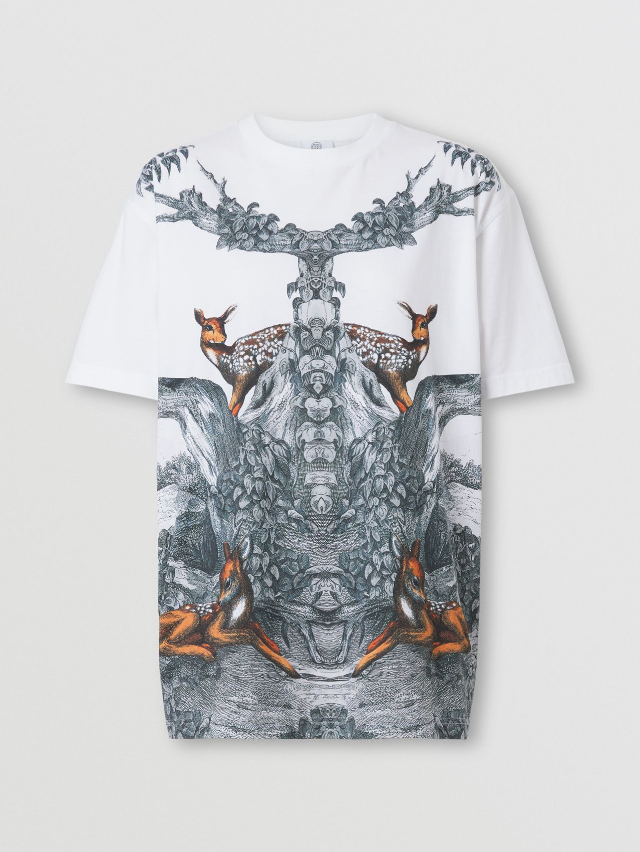Deer Sketch Print Cotton Oversized T-shirt in White