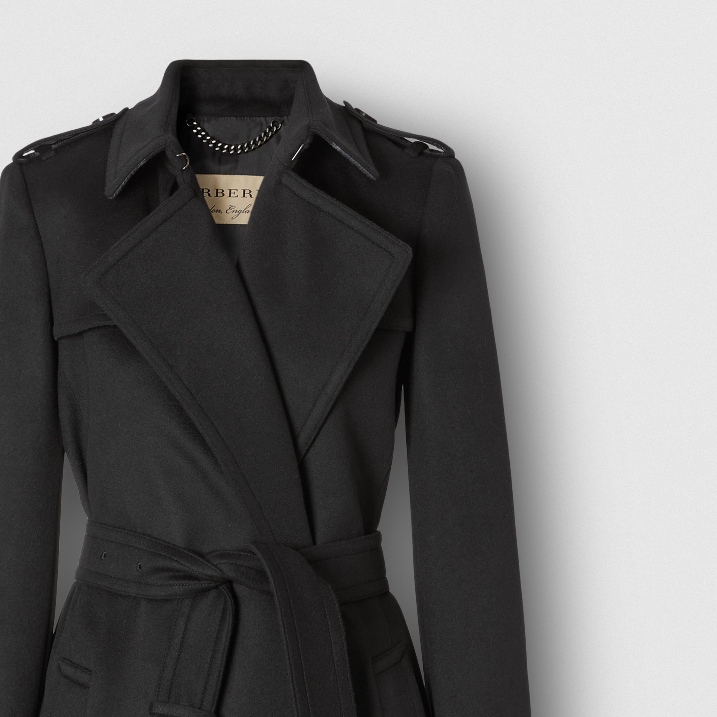 Wool Cashmere Trench Coat in Black - Women | Burberry - 2
