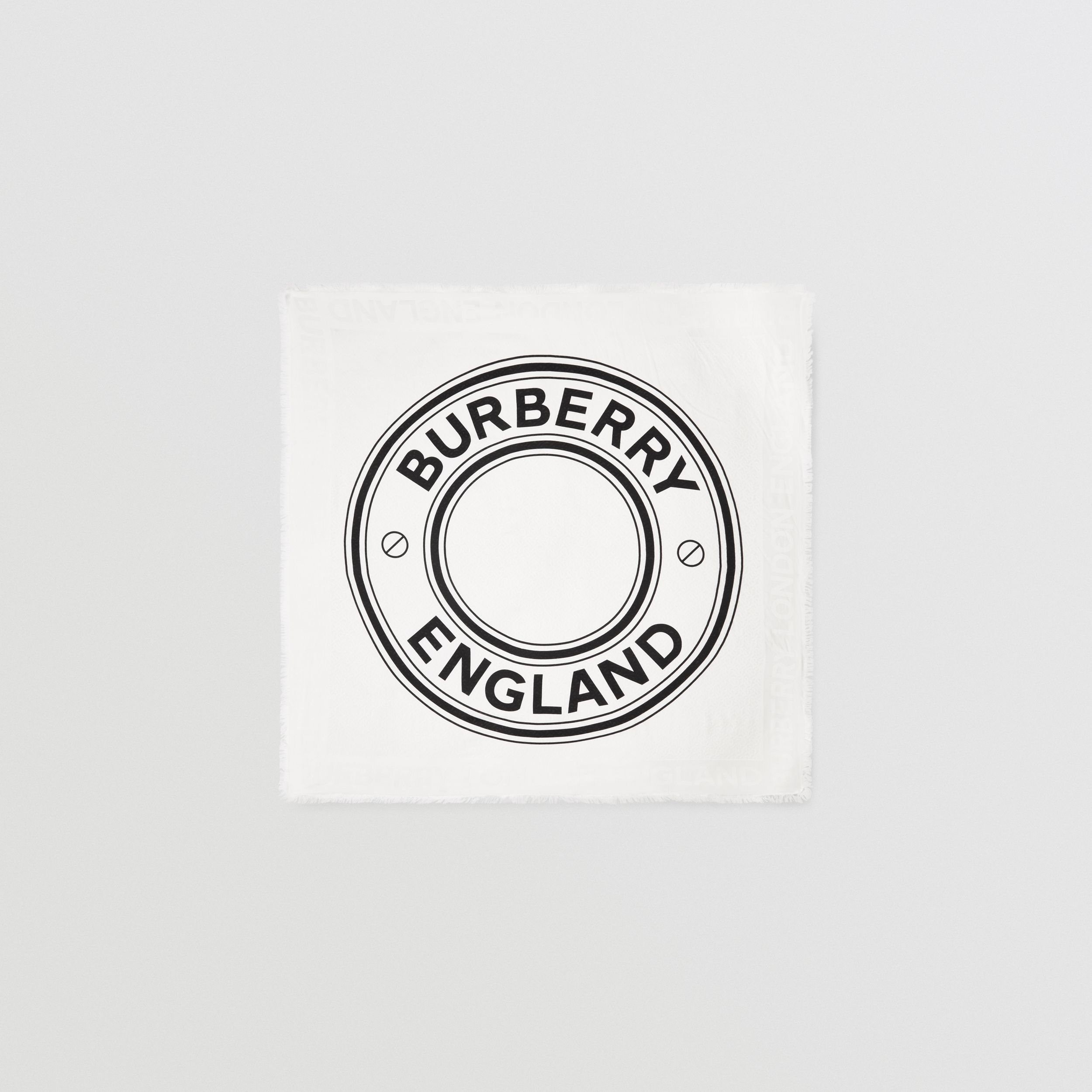 Logo Graphic Silk Wool Jacquard Large Square Scarf in White/black | Burberry Singapore - 1