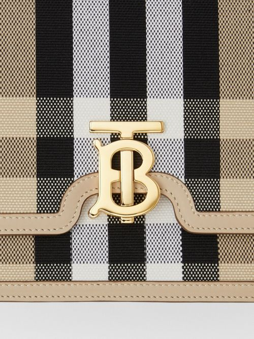 BURBERRY Canvases Medium Check Canvas and Leather TB Bag