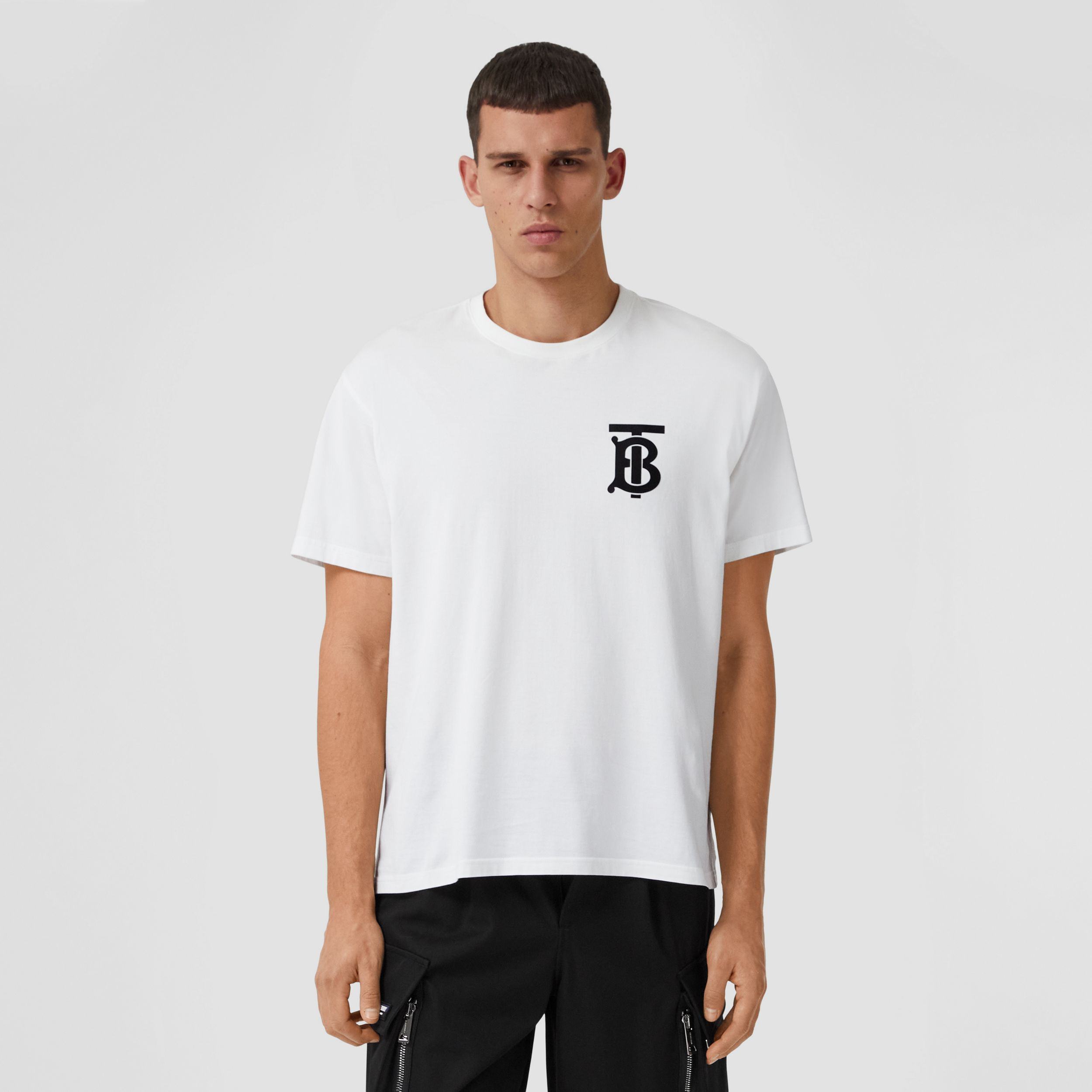 Monogram Motif Cotton Oversized T-shirt in White - Men | Burberry Australia - 1