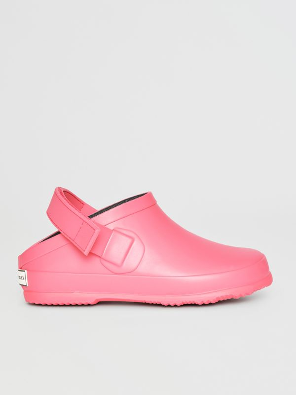 Check Detail Rubber Sandals in Bright Rose - Children | Burberry United States - cell image 3