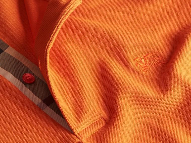 Check Placket Cotton Piqué Polo Shirt Clementine - cell image 1