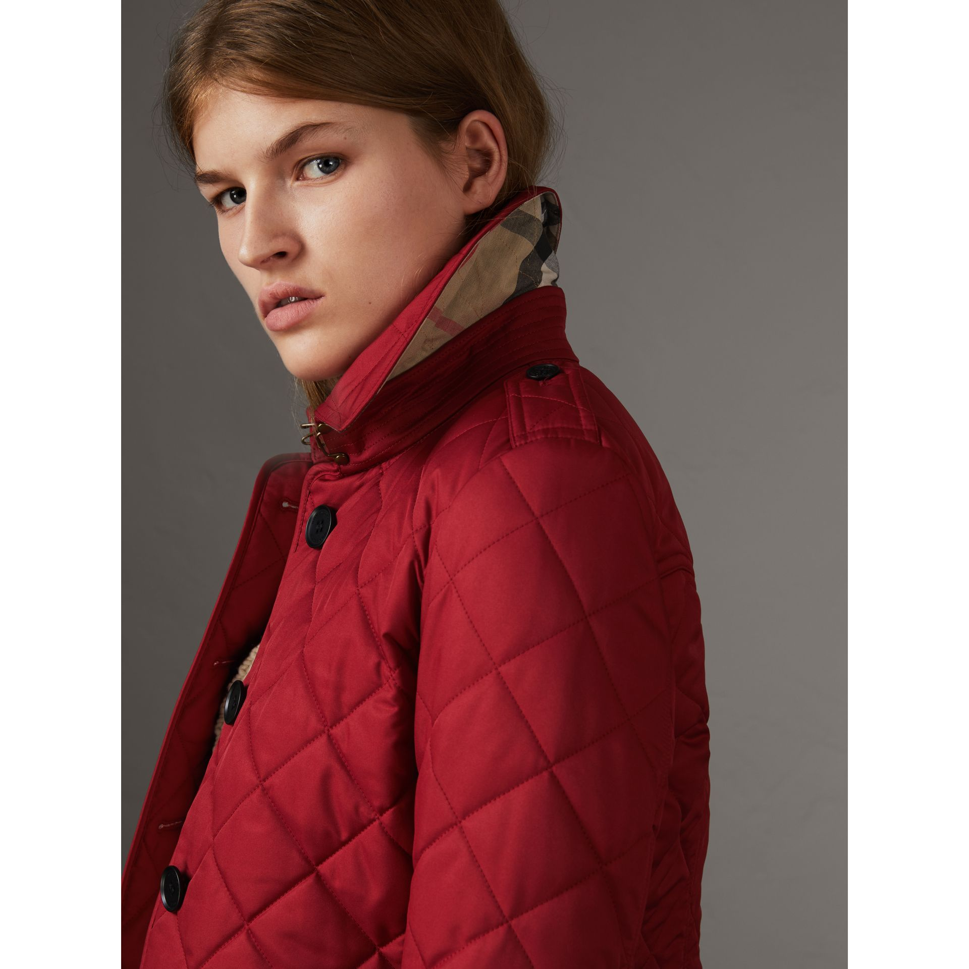 Diamond Quilted Jacket in Parade Red - Women | Burberry Singapore - gallery image 5