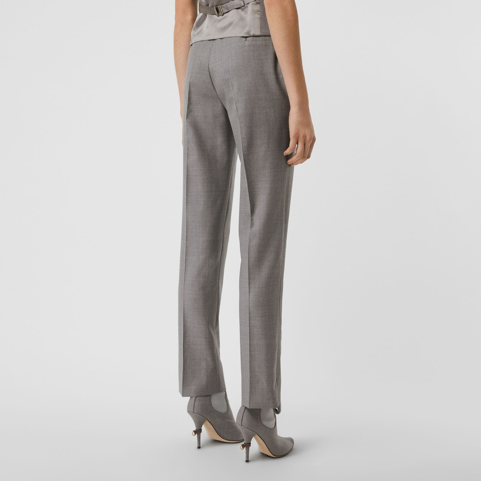 Stripe Detail Wool Trousers in Flint - Women | Burberry - gallery image 2