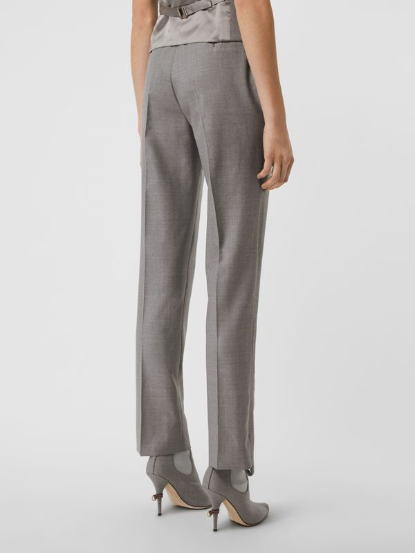 Stripe Detail Wool Trousers in Flint - Women | Burberry - cell image 2
