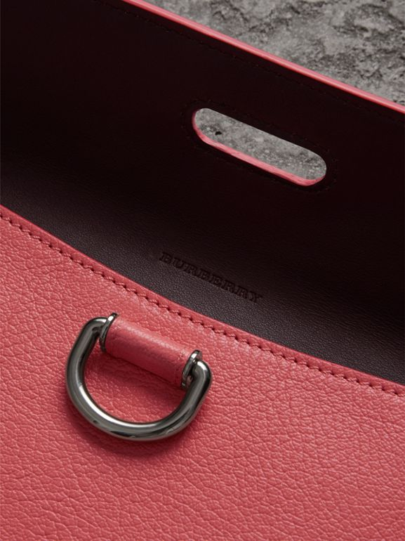 D-ring Leather Pouch with Zip Coin Case in Bright Coral Pink - Women | Burberry - cell image 1