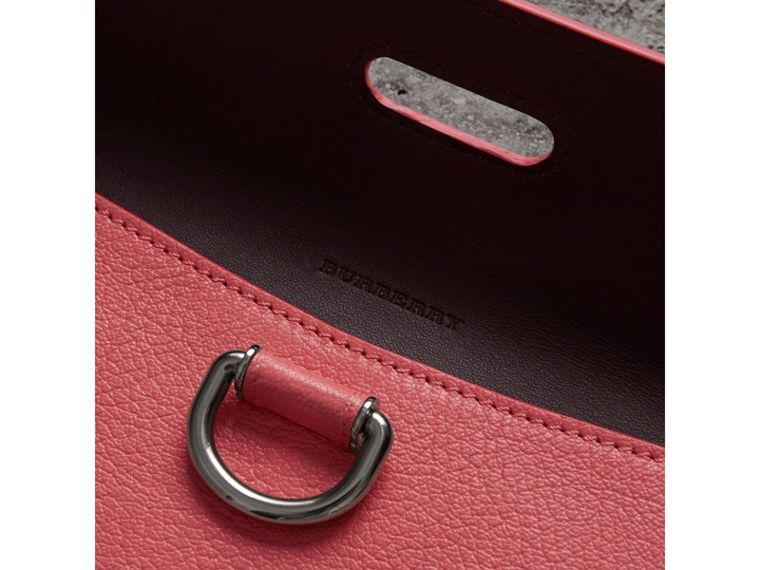 D-ring Leather Pouch with Zip Coin Case in Bright Coral Pink - Women | Burberry Hong Kong - cell image 1