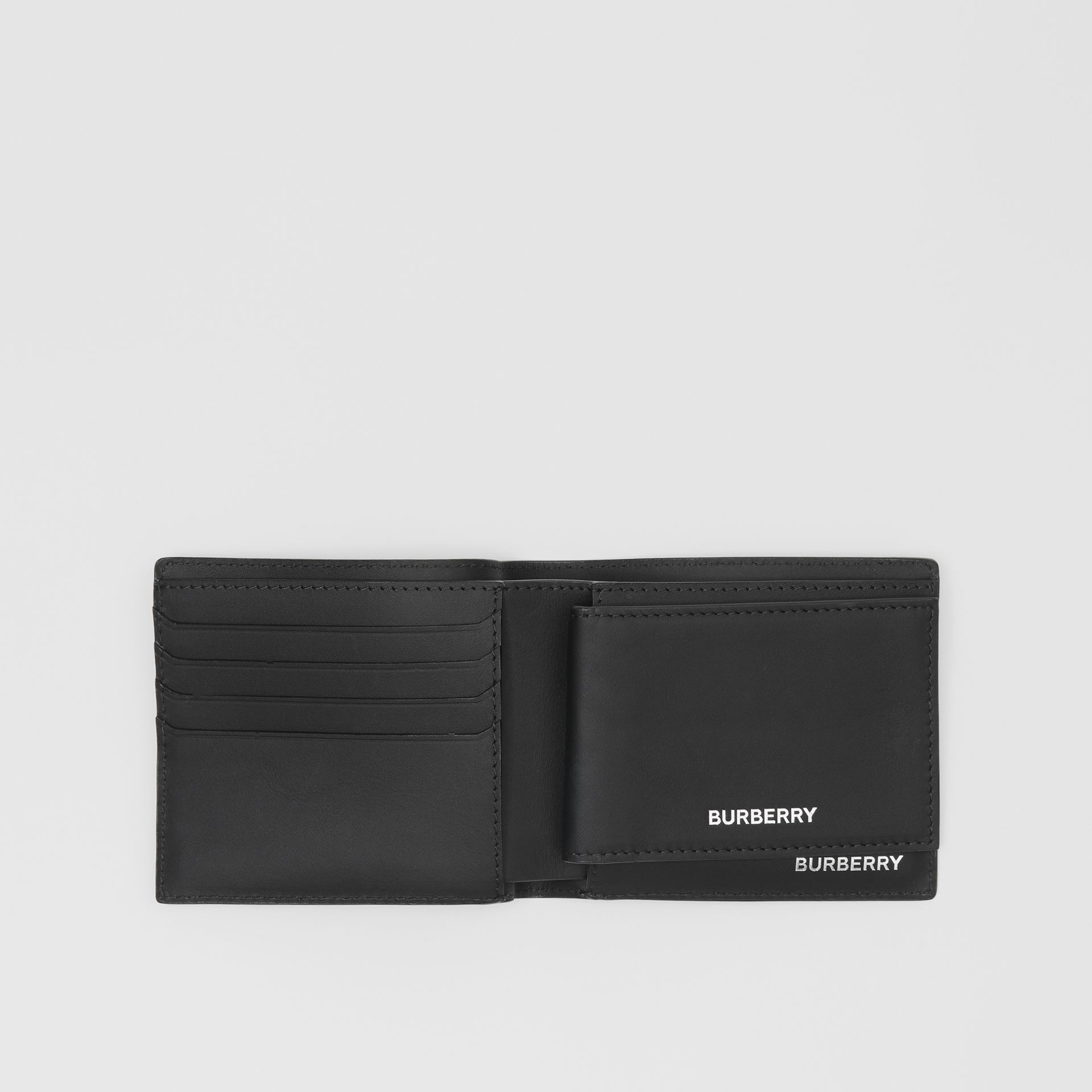 London Check Bifold Wallet with ID Card Case in Dark Charcoal - Men | Burberry - gallery image 2
