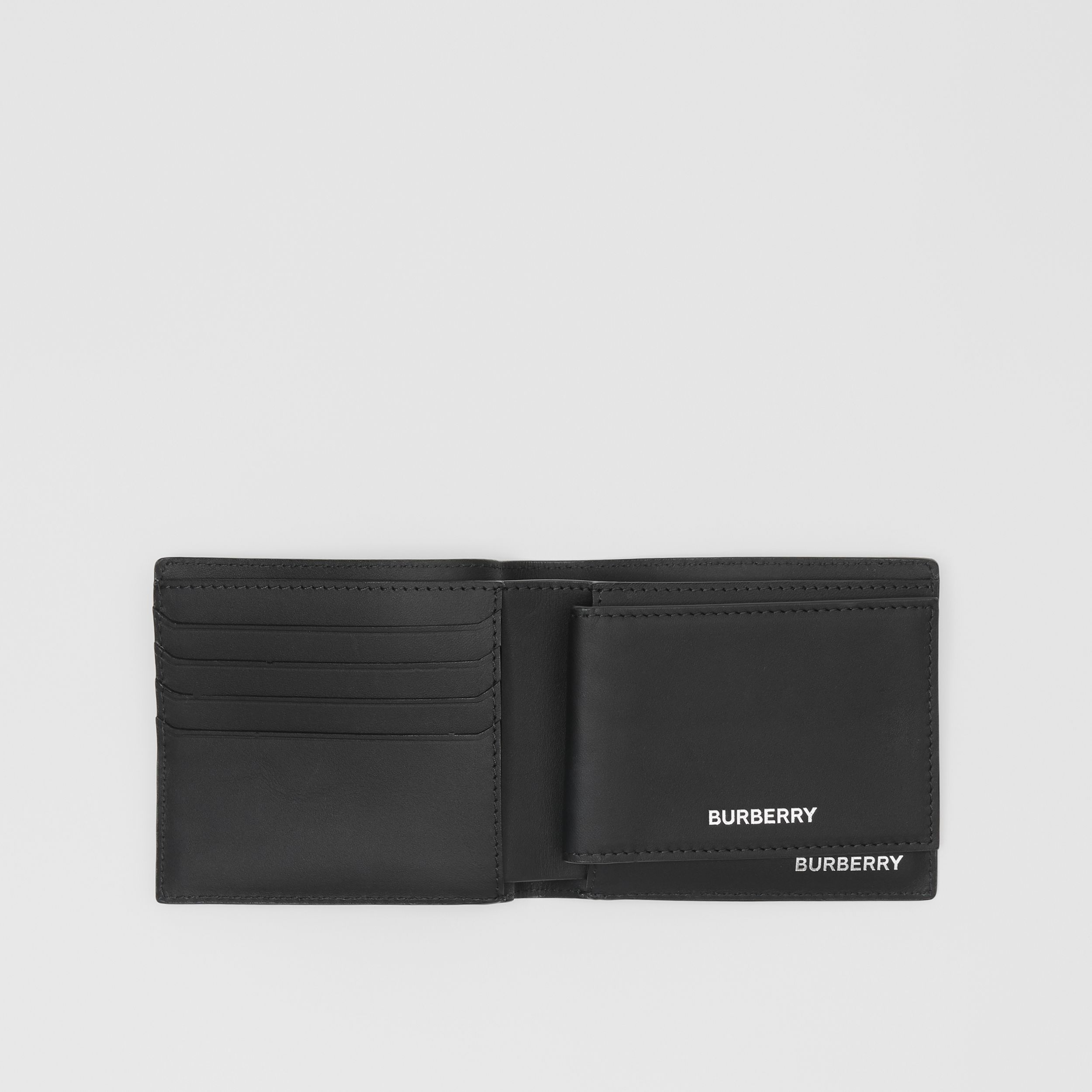 London Check Bifold Wallet with ID Card Case in Dark Charcoal - Men | Burberry - 3