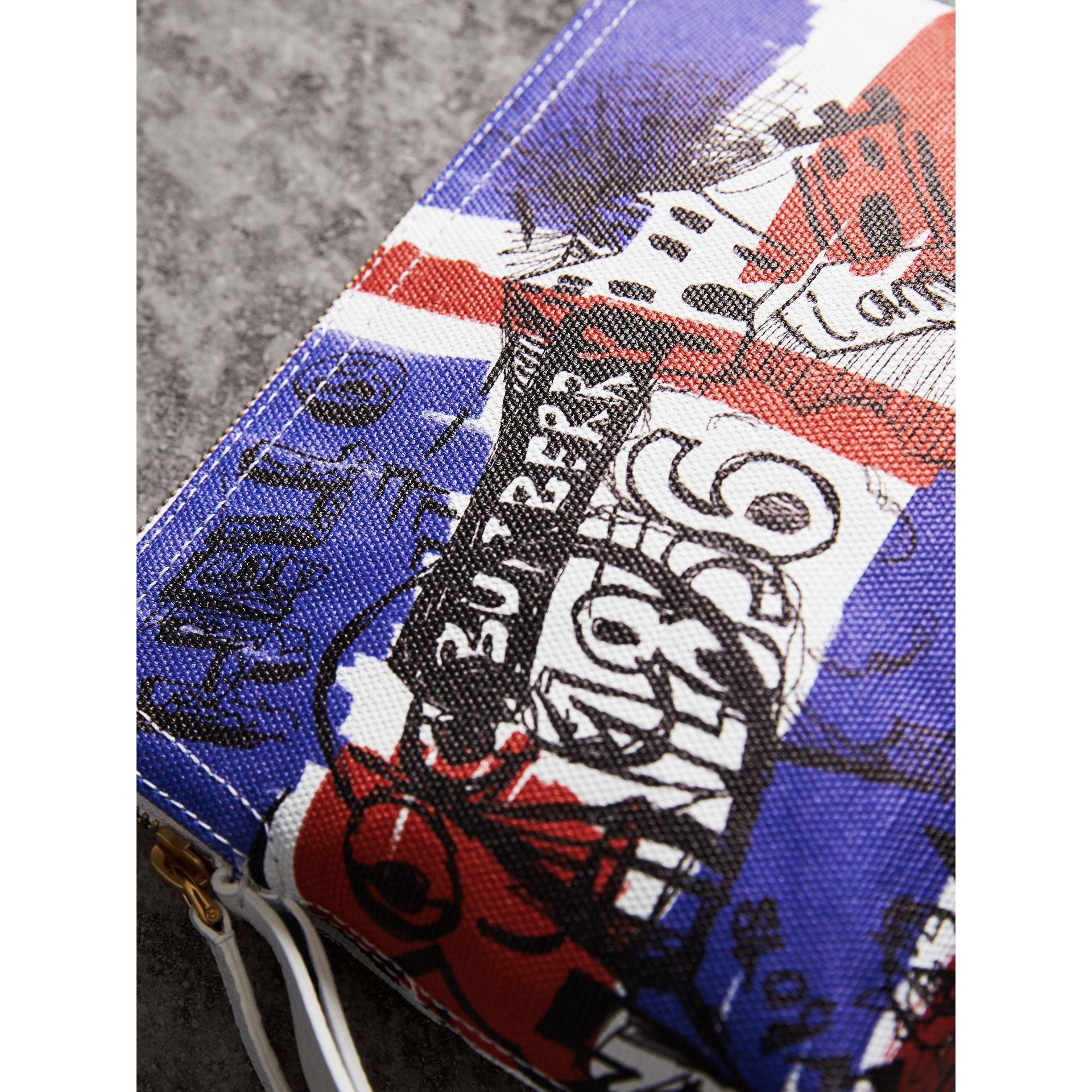 Large Zip-top Doodle Print Coated Canvas Pouch in Red/blue - Women | Burberry - gallery image 1