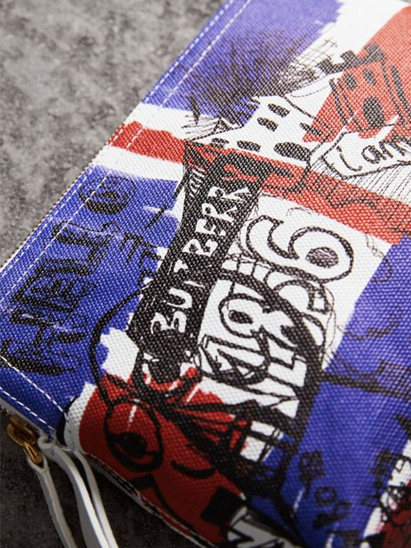Large Zip-top Doodle Print Coated Canvas Pouch in Red/blue - Women | Burberry - cell image 1
