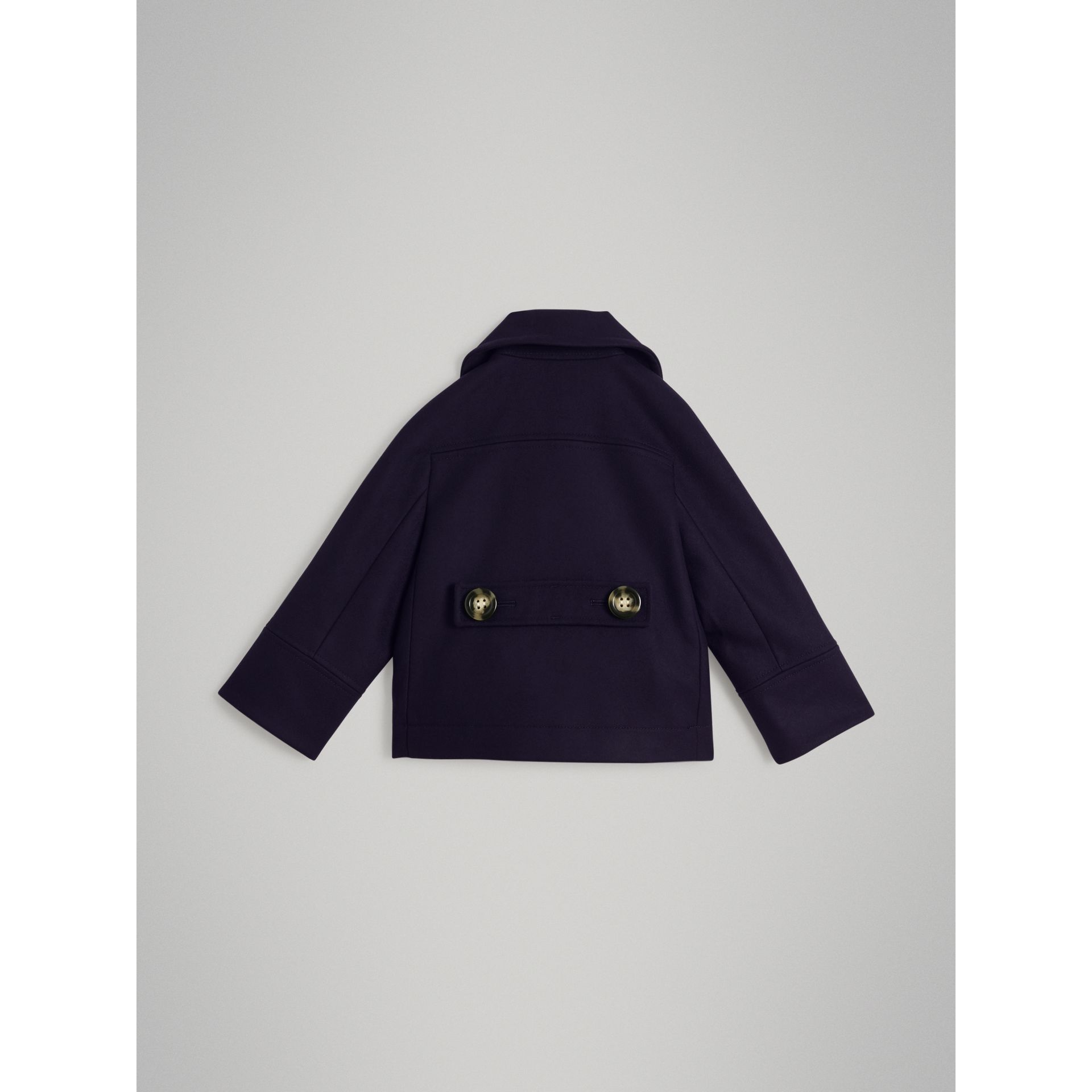 Short Wool Pea Coat in Navy - Girl | Burberry - gallery image 3
