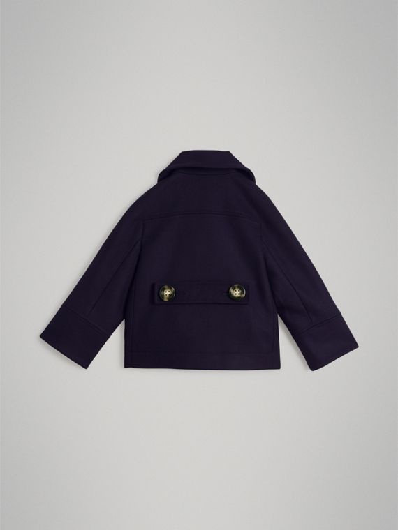 Short Wool Pea Coat in Navy - Girl | Burberry United Kingdom - cell image 3