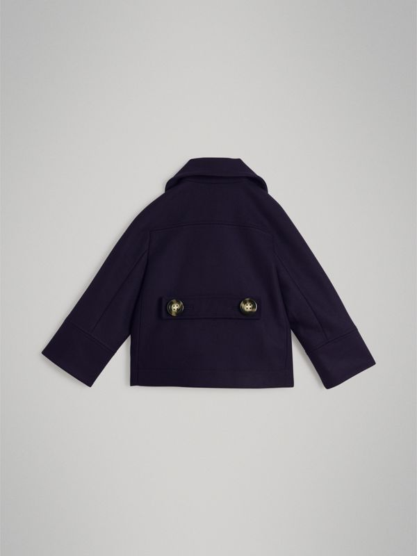 Short Wool Pea Coat in Navy | Burberry Singapore - cell image 3