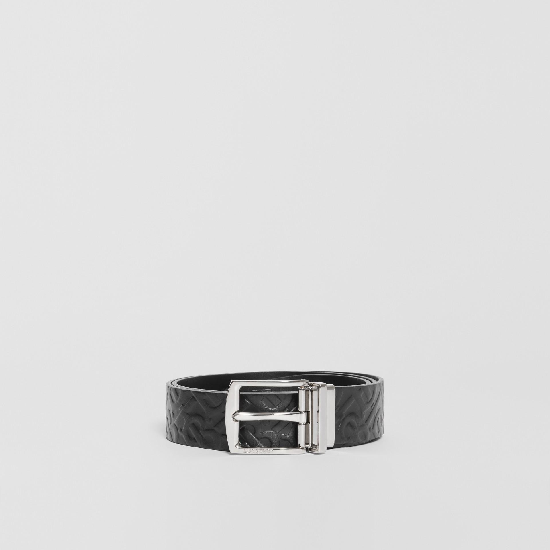 Reversible Monogram Leather Belt in Black - Men | Burberry - gallery image 3