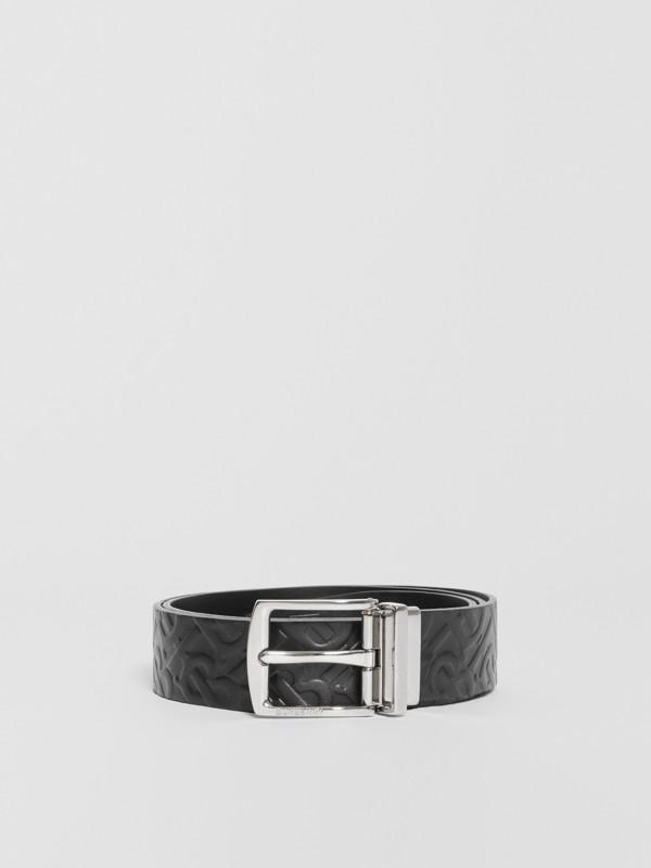 Reversible Monogram Leather Belt in Black - Men | Burberry - cell image 3