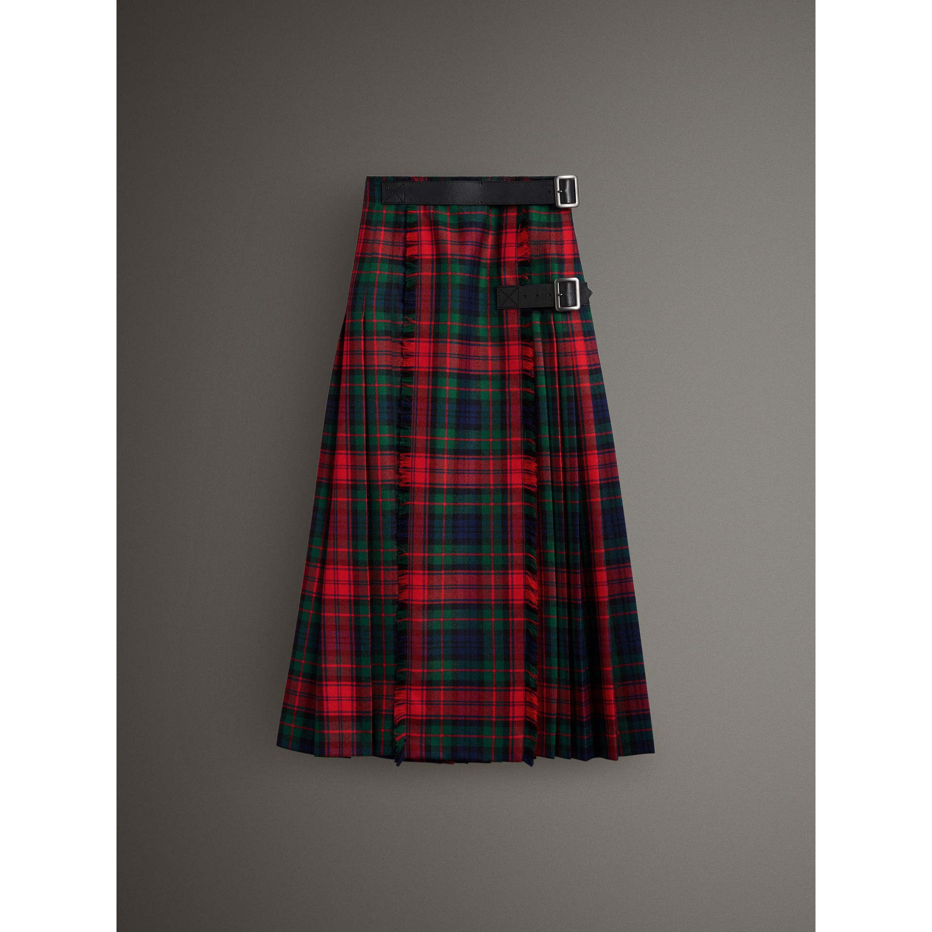 Tartan Wool High-waisted Kilt in Bright Red - Women | Burberry Singapore - gallery image 4
