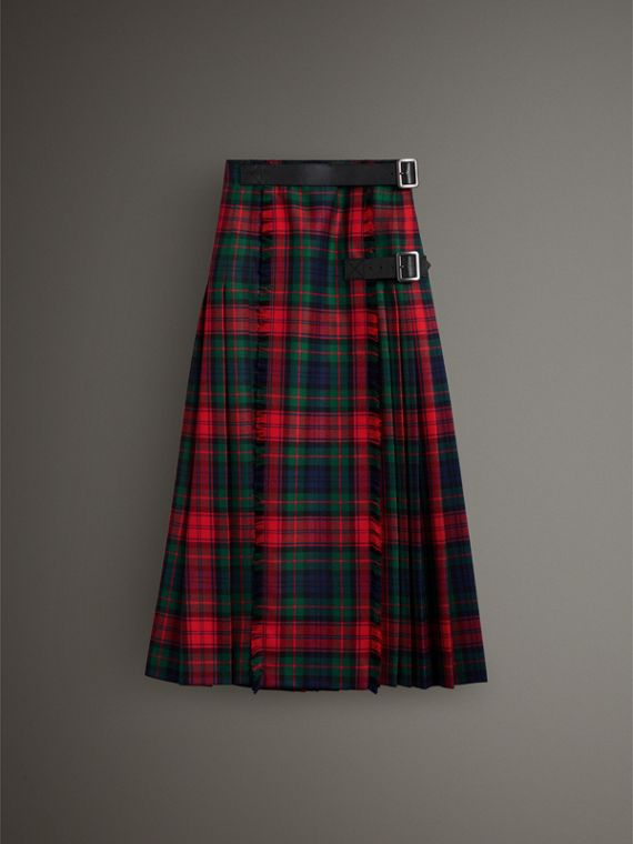 Tartan Wool High-waisted Kilt in Bright Red - Women | Burberry Singapore - cell image 3