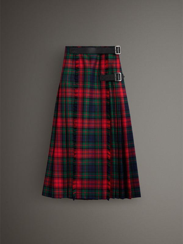 Tartan Wool High-waisted Kilt in Bright Red - Women | Burberry - cell image 3