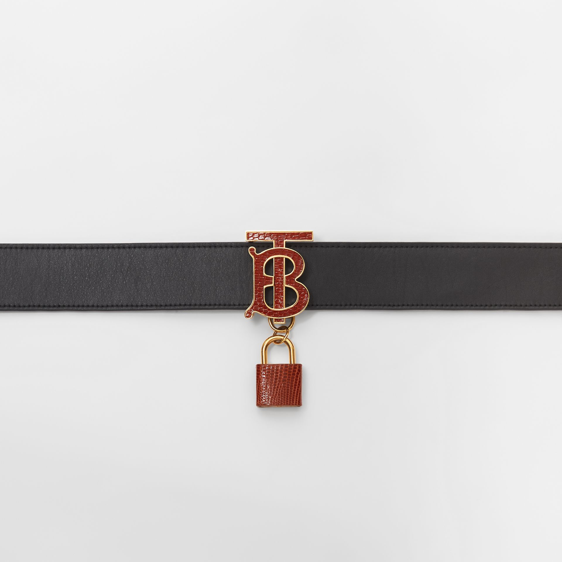 Padlock Detail Monogram Motif Leather Belt in Black/tan - Women | Burberry Australia - gallery image 1