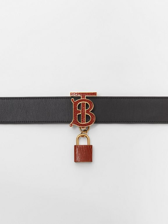 Padlock Detail Monogram Motif Leather Belt in Black/tan - Women | Burberry United States - cell image 1
