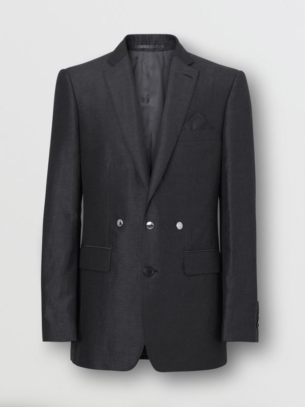 English Fit Triple Stud Silk Linen Tailored Jacket in Silver Grey | Burberry Singapore - cell image 3