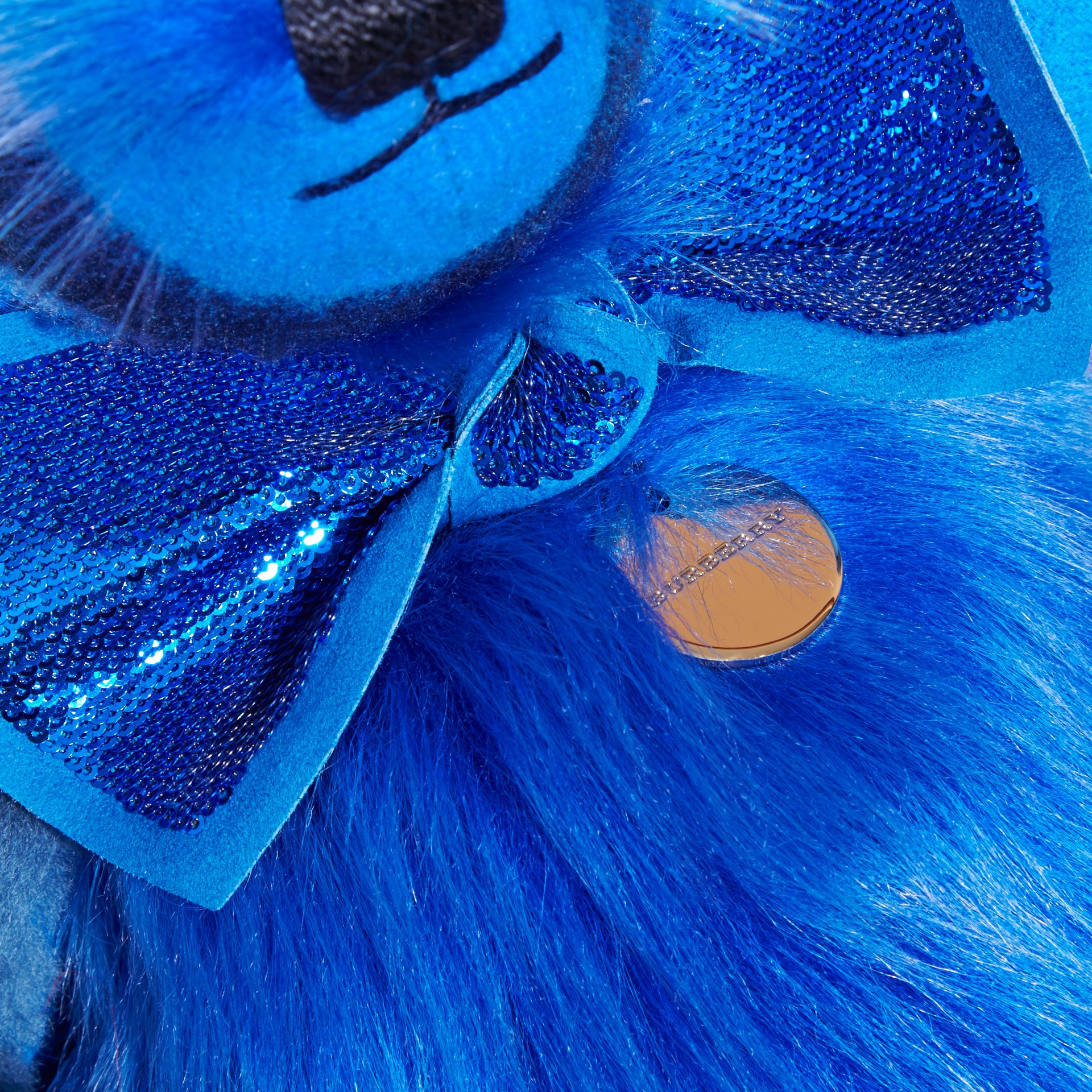 Bright cornflower blue Pom-Pom Thomas Bear in Shearling and Check Cashmere Bright Cornflower Blue - gallery image 2