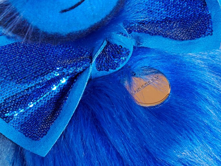 Bright cornflower blue Pom-Pom Thomas Bear in Shearling and Check Cashmere Bright Cornflower Blue - cell image 1