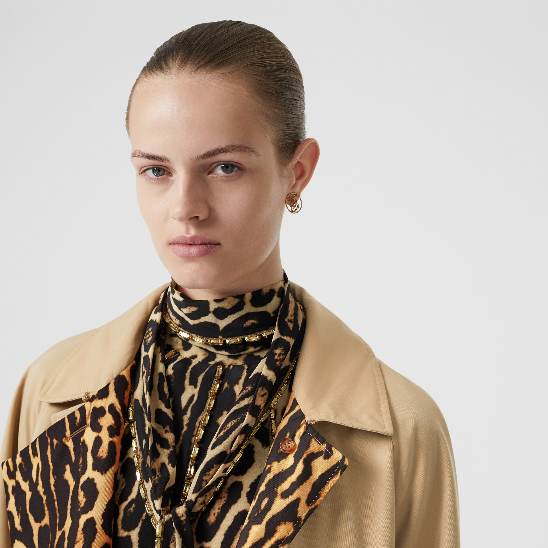 Leopard Print-lined Cotton Gabardine Car Coat in Honey - Women | Burberry Australia - gallery image 4