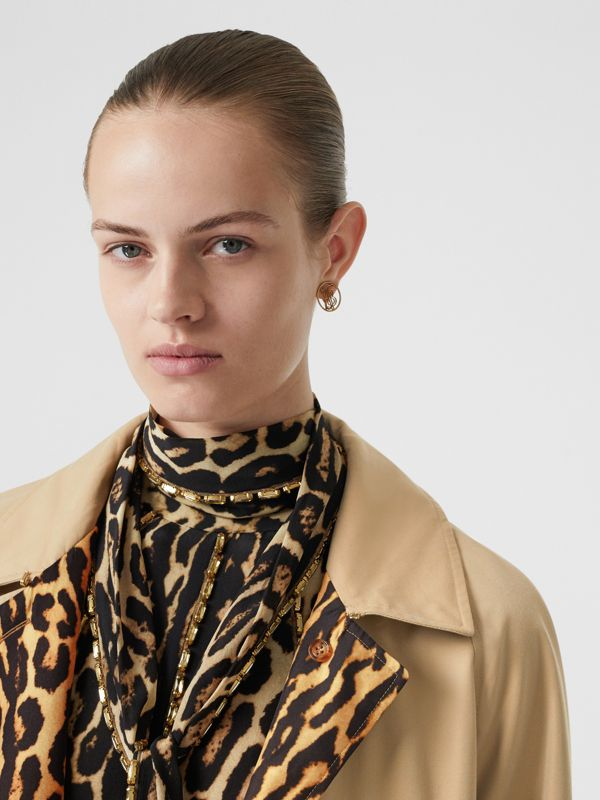 Leopard Print-lined Cotton Gabardine Car Coat in Honey - Women | Burberry United Kingdom - cell image 3