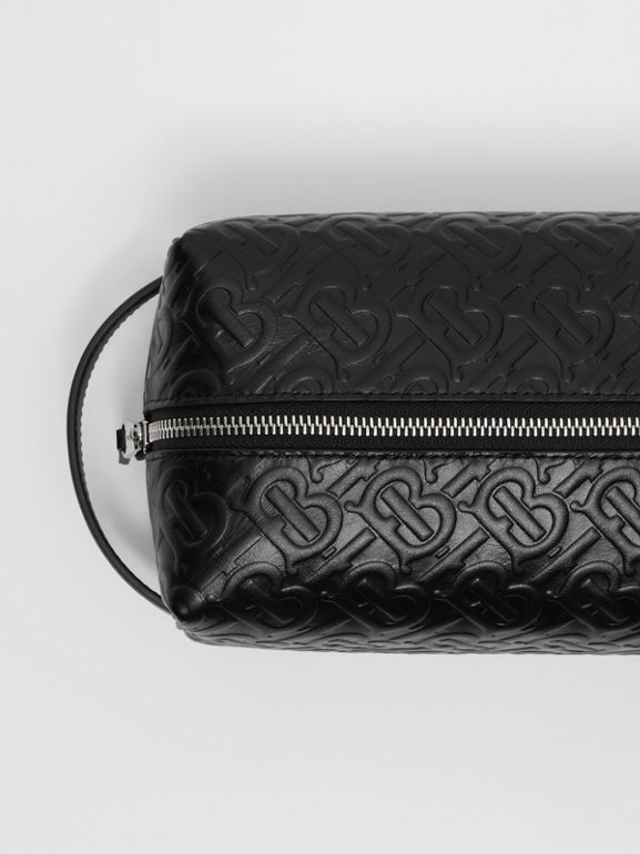 Monogram Leather Travel Pouch in Black - Men | Burberry United Kingdom - cell image 1