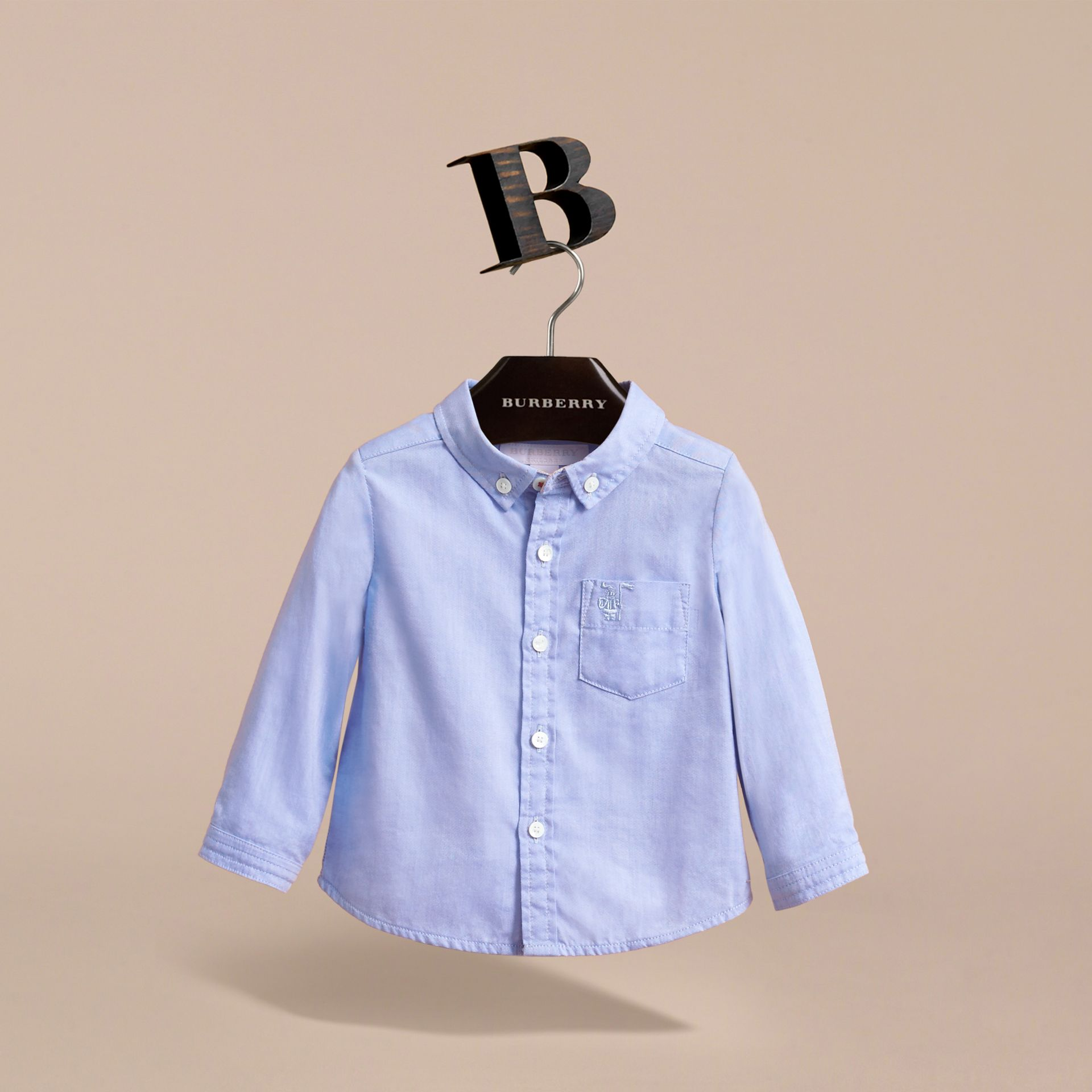 Cotton Oxford Shirt in Cornflower Blue | Burberry - gallery image 3