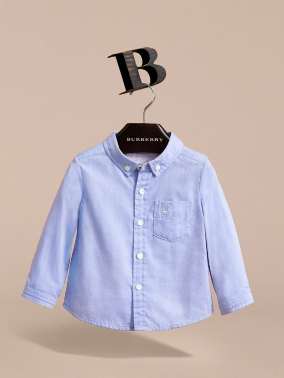 Cotton Oxford Shirt in Cornflower Blue | Burberry Hong Kong - cell image 2