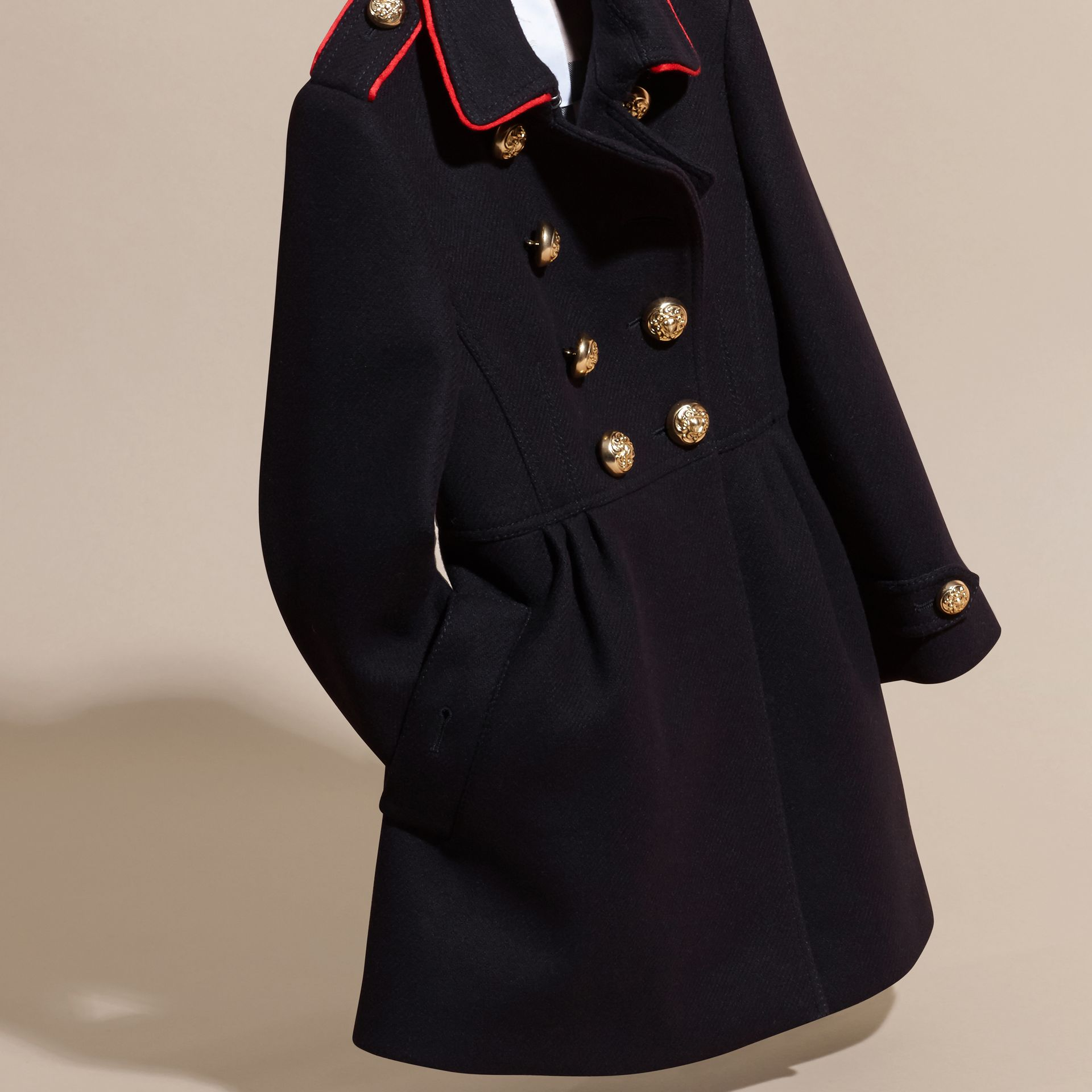 Navy Regimental Detail Wool Cashmere Blend Coat - gallery image 3