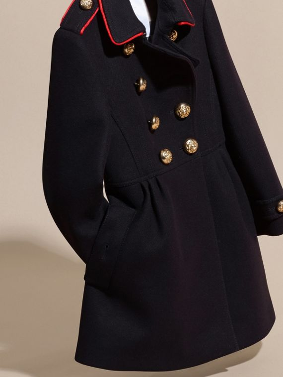 Navy Regimental Detail Wool Cashmere Blend Coat - cell image 2