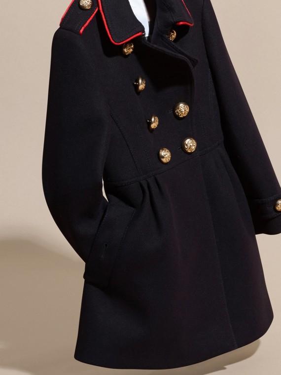 Marine Manteau en laine et cachemire mélangés avec détails militaires - cell image 2