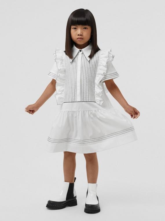 Vestitino in popeline di cotone stretch con arricciature (Bianco)