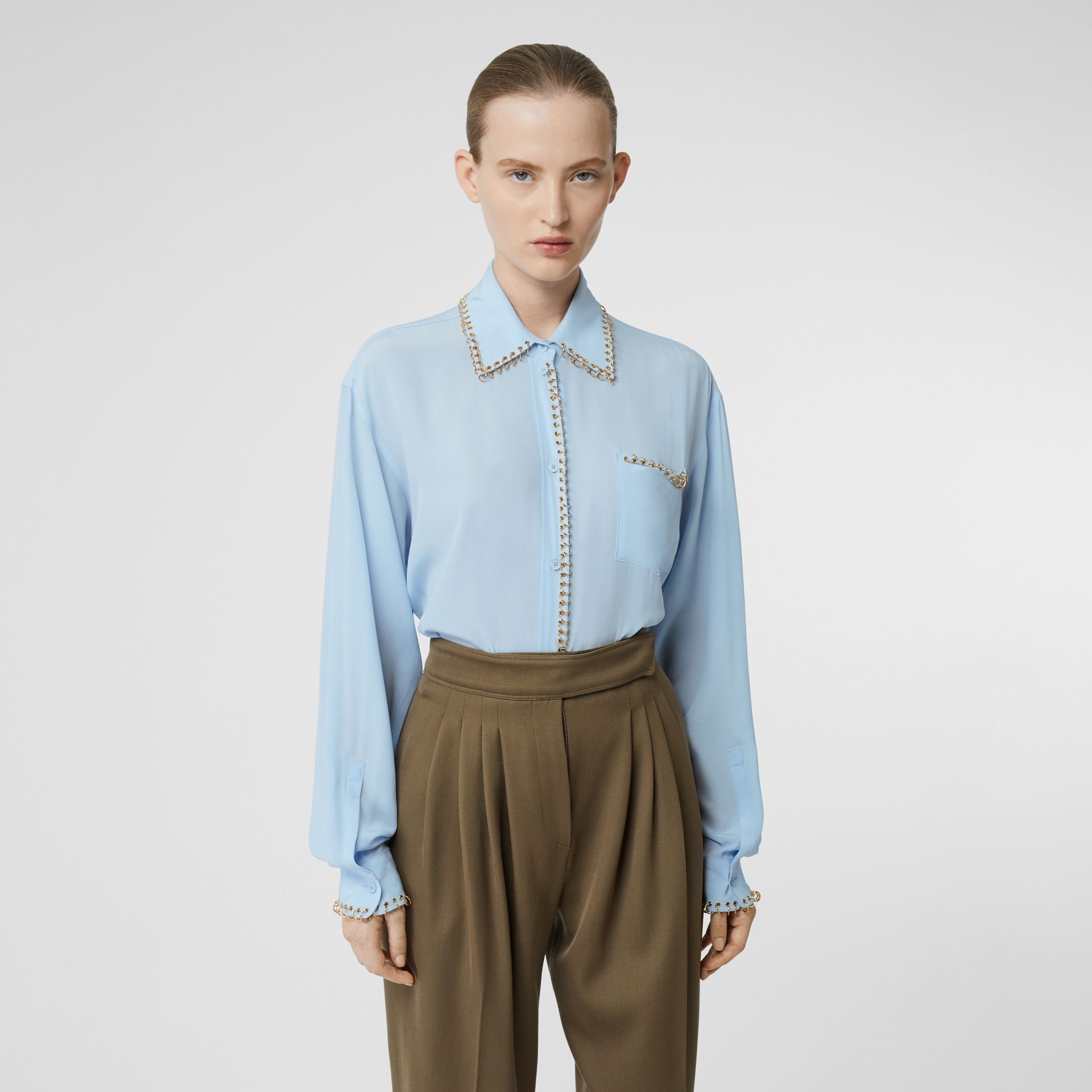 Ring-pierced Silk Crepe Shirt in Pale Blue - Women | Burberry - gallery image 0