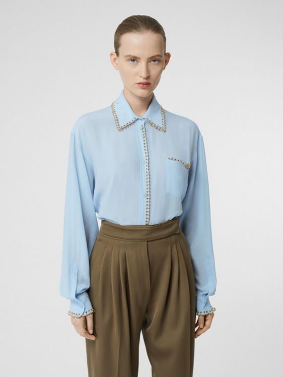 Camisa en crepé de seda con anillas (Azul Pálido)