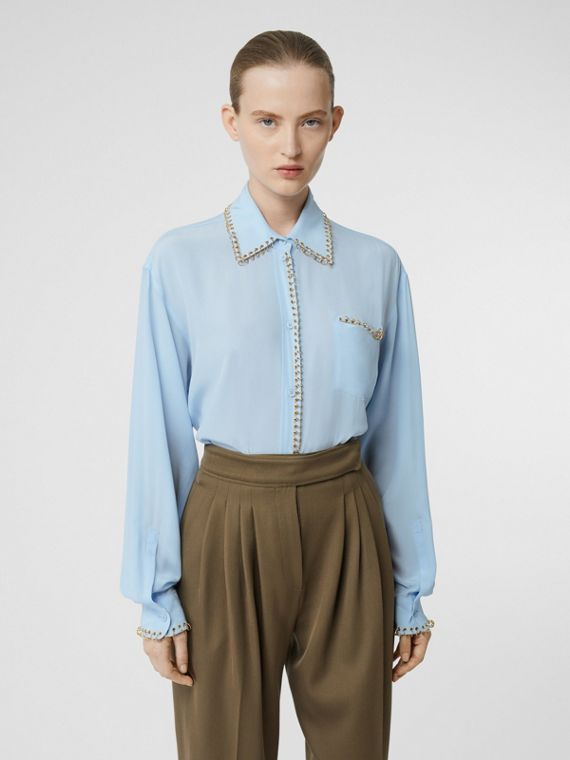 Camicia in seta crêpe de chine con piercing (Blu Pallido)