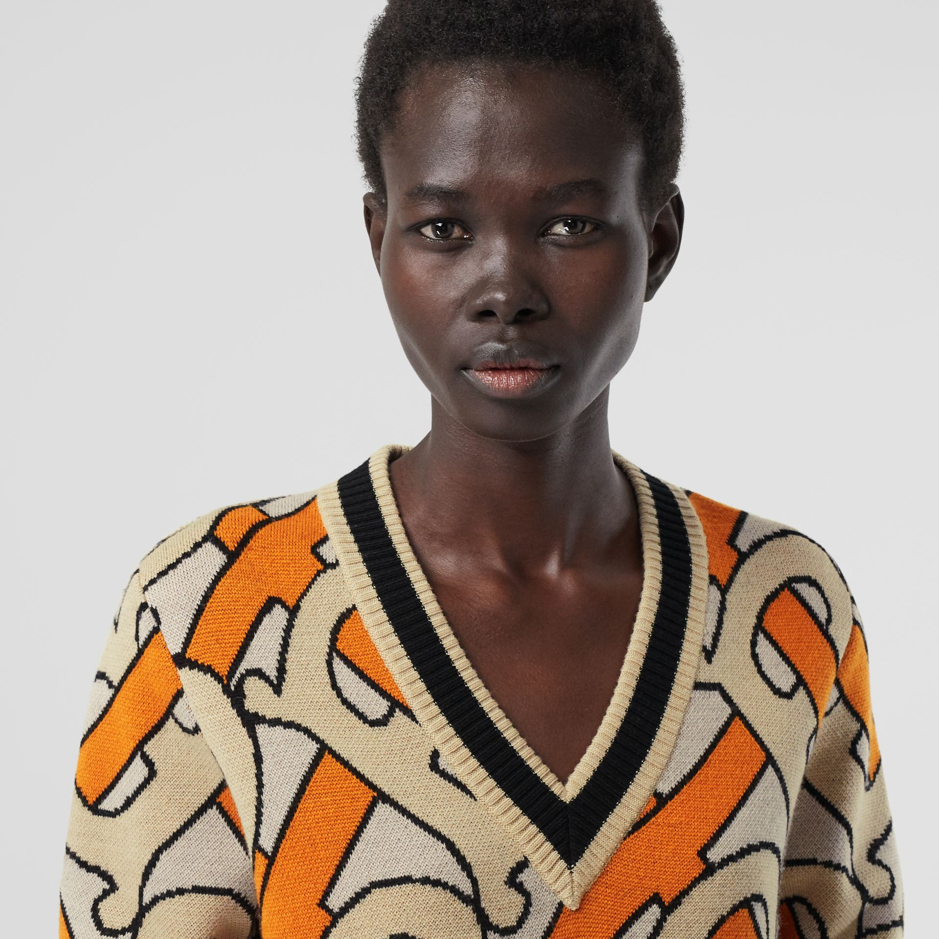 Monogram Intarsia Wool V-neck Sweater in Bright Orange - Women | Burberry Singapore - gallery image 1