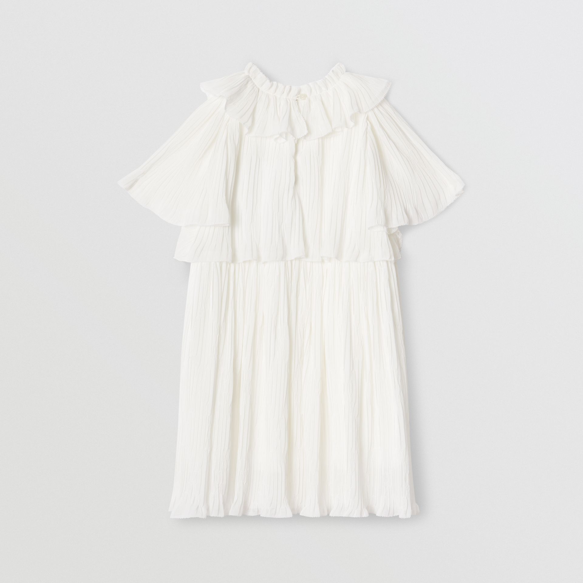 Robe en voile plissé à volants (Blanc Naturel) | Burberry Canada - photo de la galerie 3