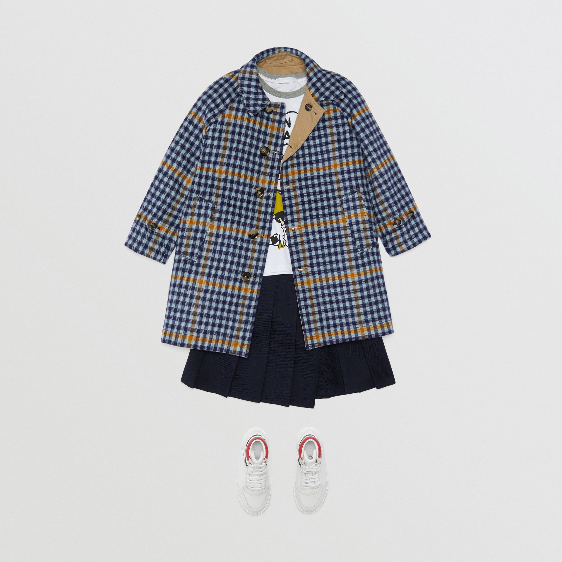 Reversible Check Wool and Cotton Car Coat in Canvas Blue | Burberry United States - gallery image 2