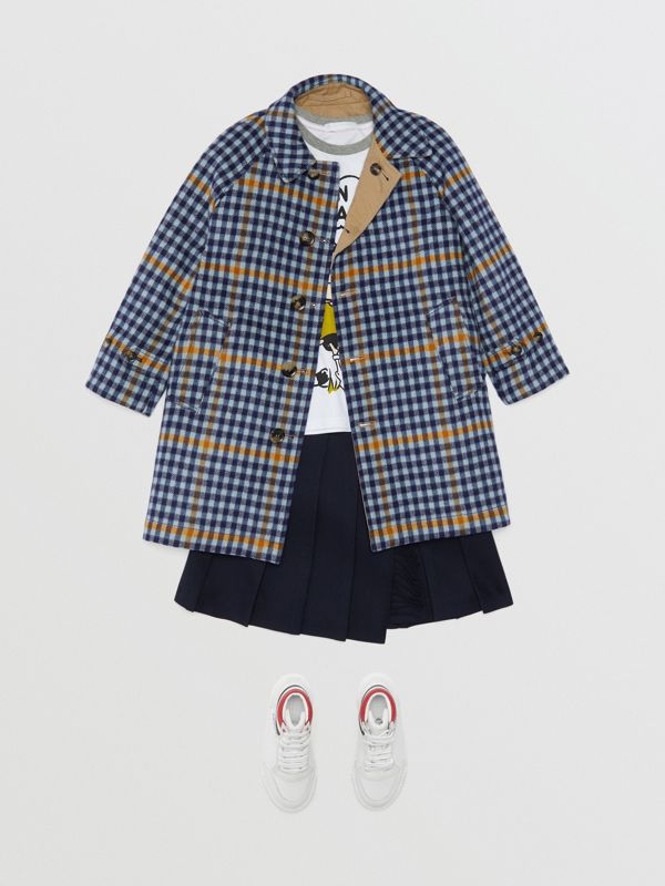 Reversible Check Wool and Cotton Car Coat in Canvas Blue | Burberry United States - cell image 2