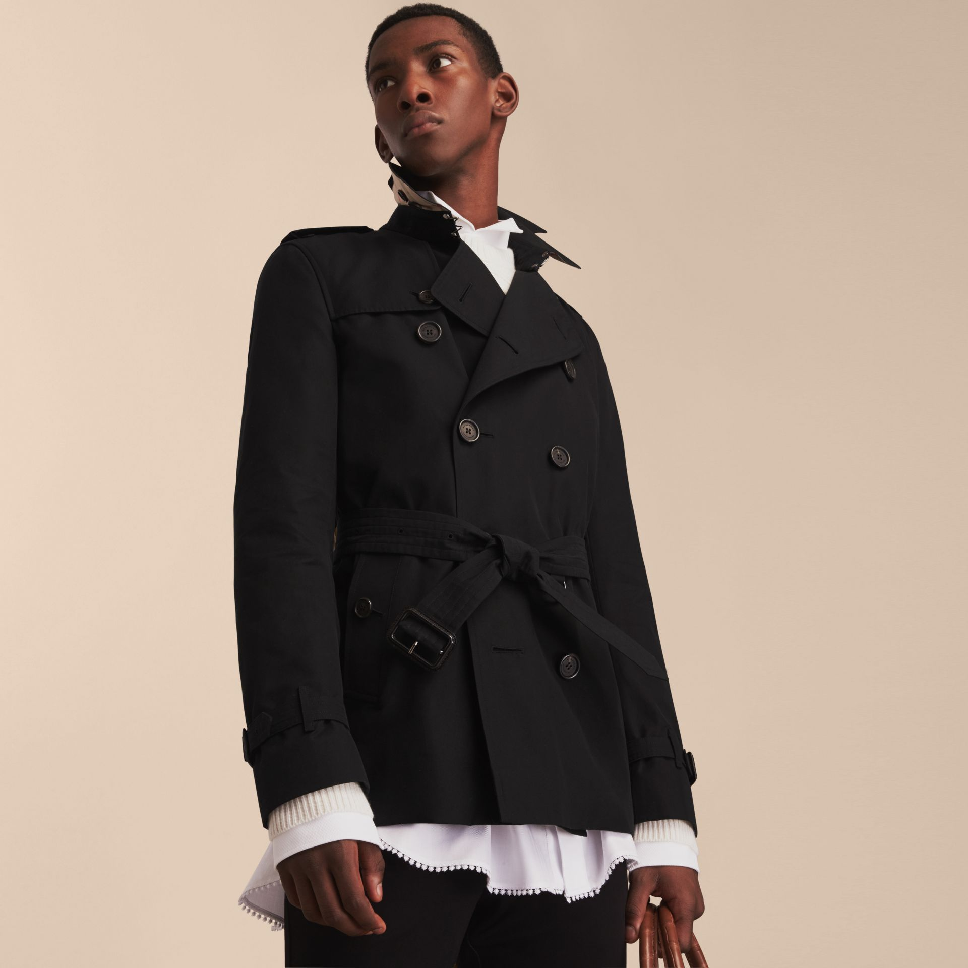 Black The Kensington – Short Heritage Trench Coat Black - gallery image 8