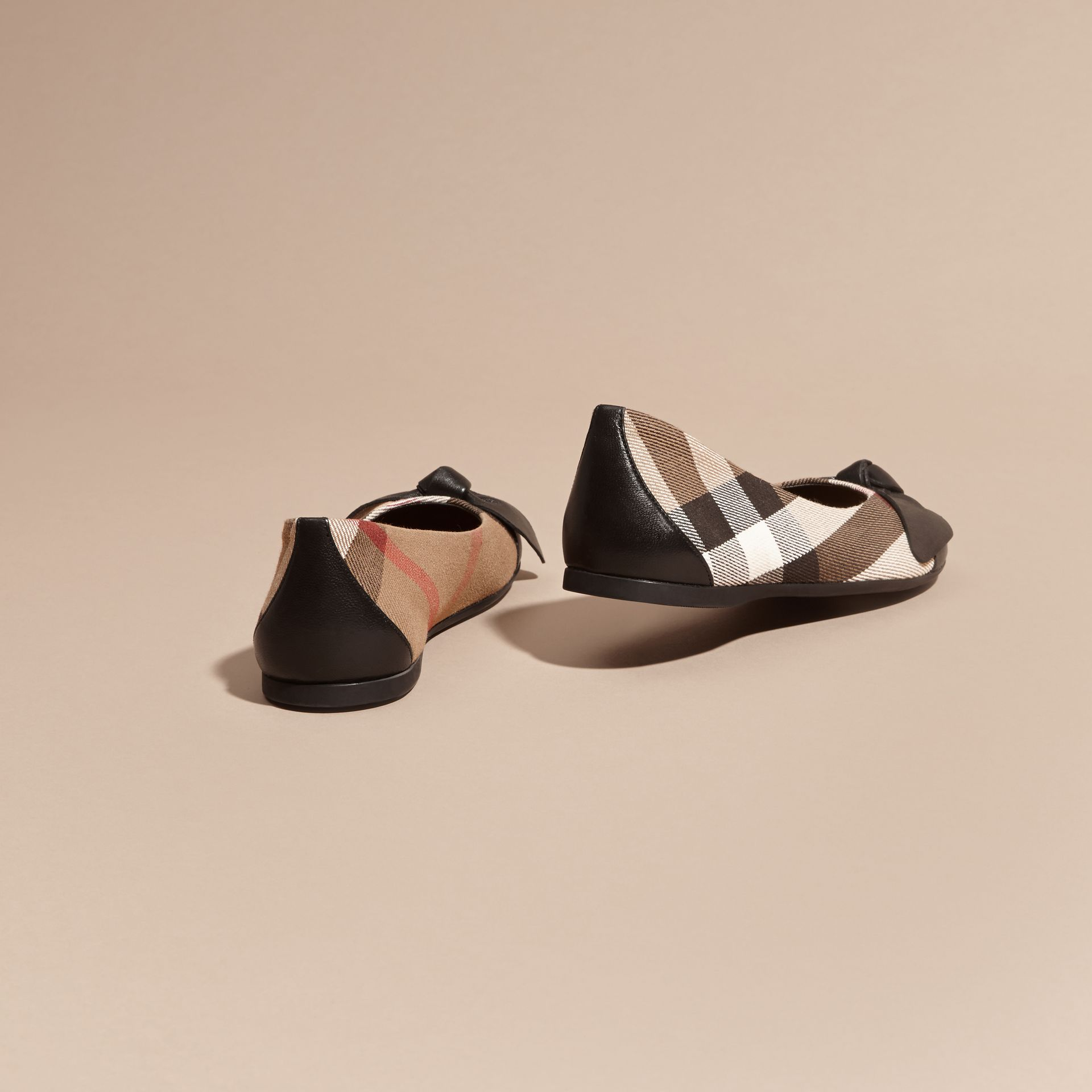 Leather and House Check Ballerinas in Black - Girl | Burberry Australia - gallery image 4