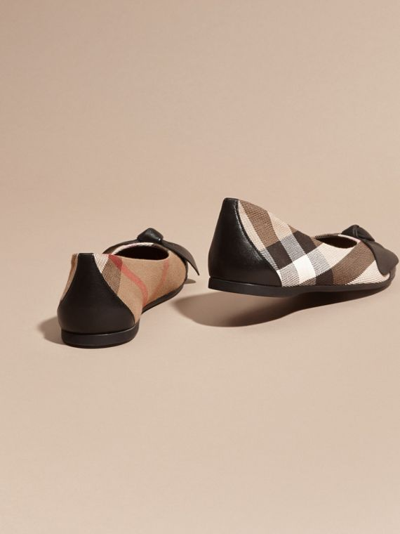 Leather and House Check Ballerinas in Black - Girl | Burberry - cell image 3
