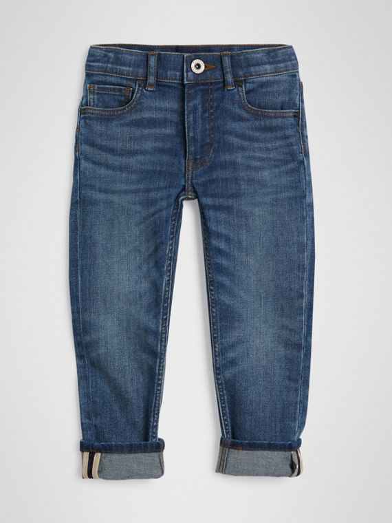 Skinny Fit Stretch Jeans in Mid Indigo